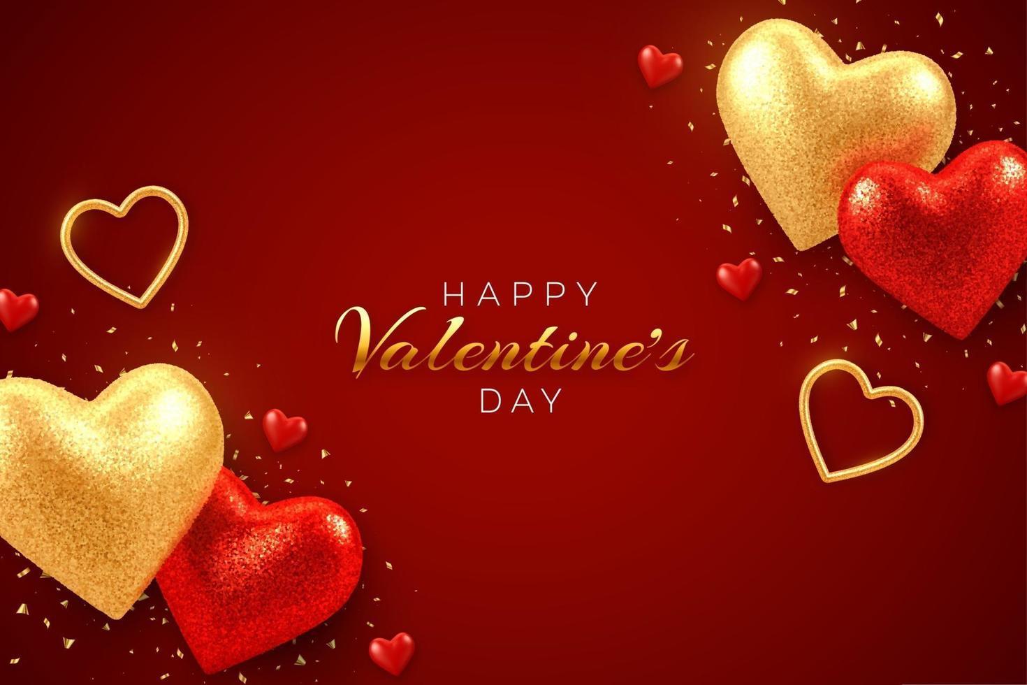 banner de venda de dia dos namorados com brilhantes corações de balões 3d vermelhos e dourados realistas com textura de glitter e confetes. plano de fundo, panfleto, convite, cartaz, folheto, cartão de felicitações. vetor