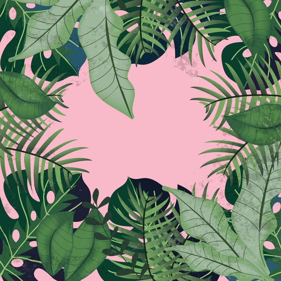 folhas verdes tropicais em fundo rosa vetor