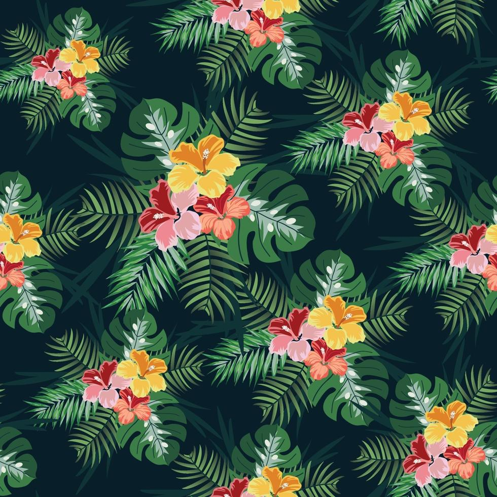 folha verde e flor tropical sem costura padrão vetor