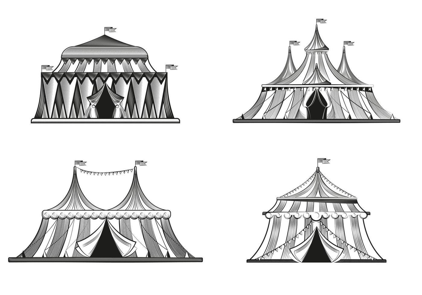 Conjunto de tendas de circo em estilo de gravura vetor