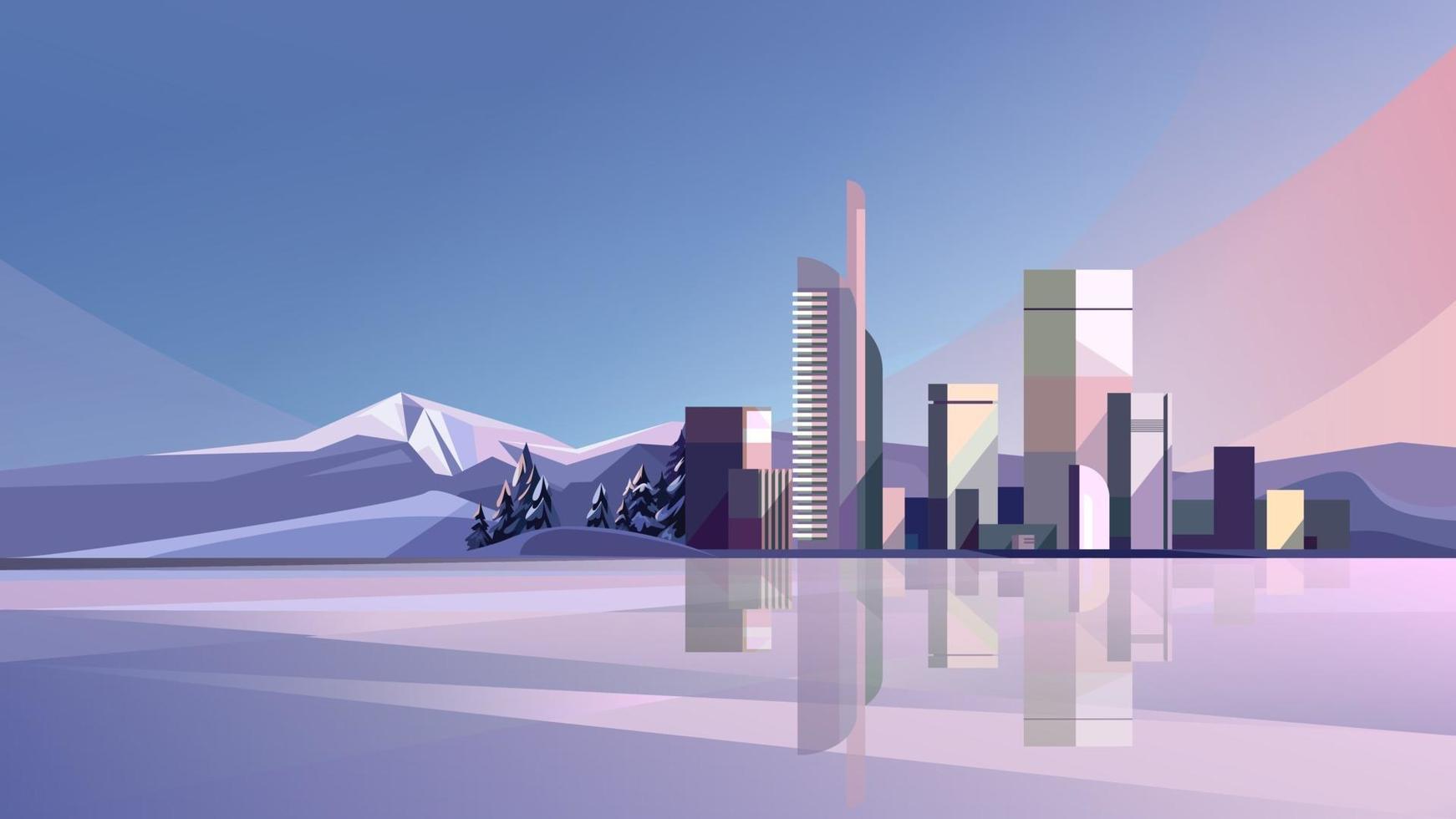 cidade de inverno com lago e montanhas vetor
