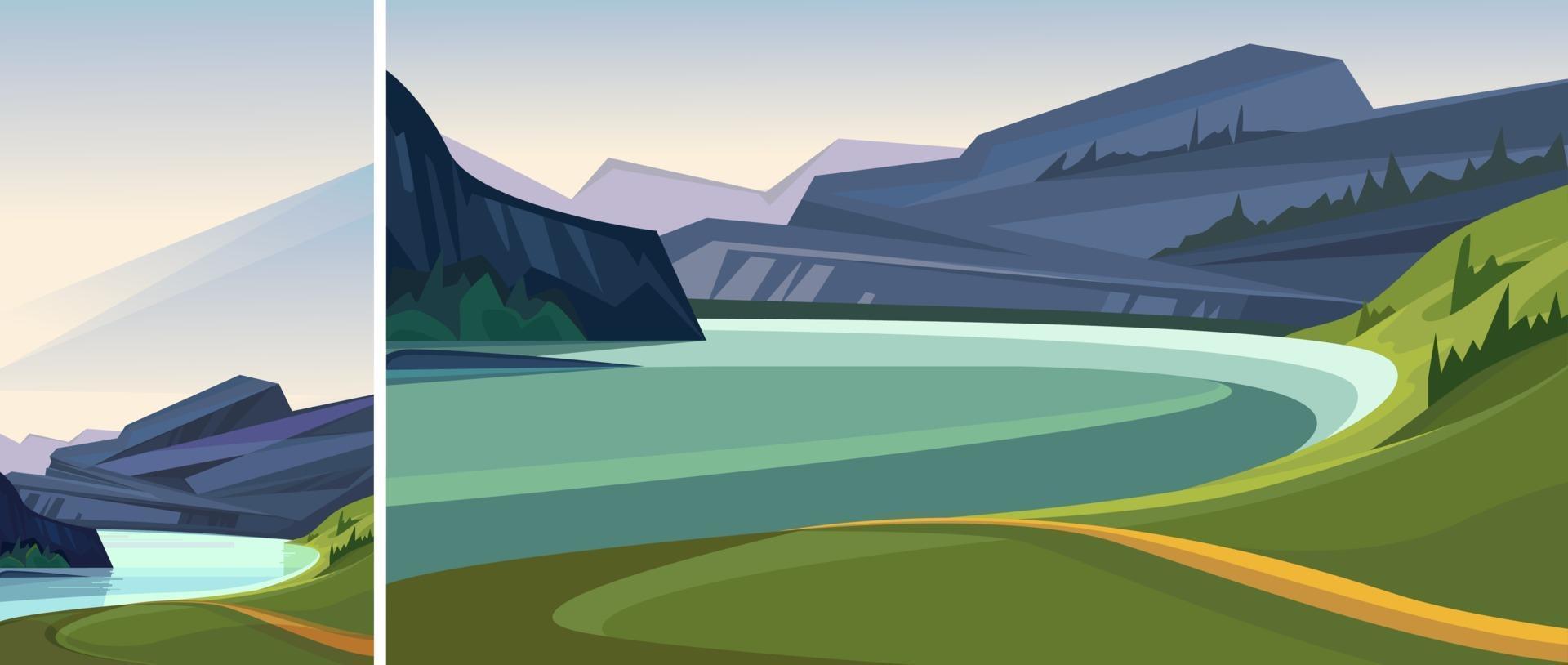 bela paisagem de fiorde norueguês vetor