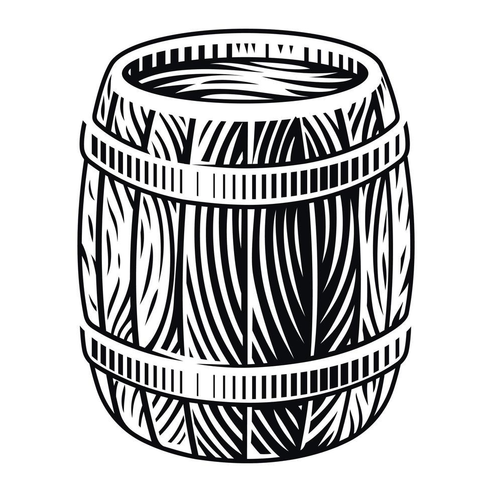 ilustração em vetor preto e branco de um barril de madeira em gravura de estilo em um fundo branco.