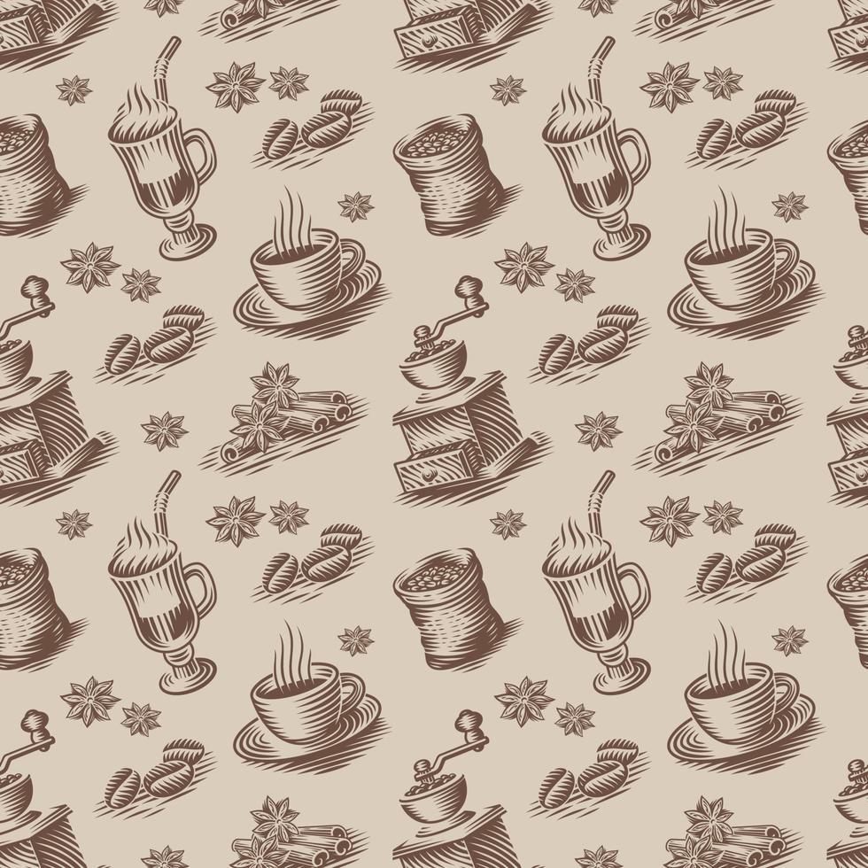 fundo sem costura retrô para um tema de café em estilo de gravura. vetor