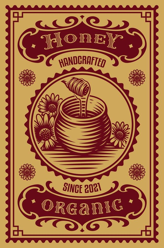 etiqueta de mel à moda antiga vetor