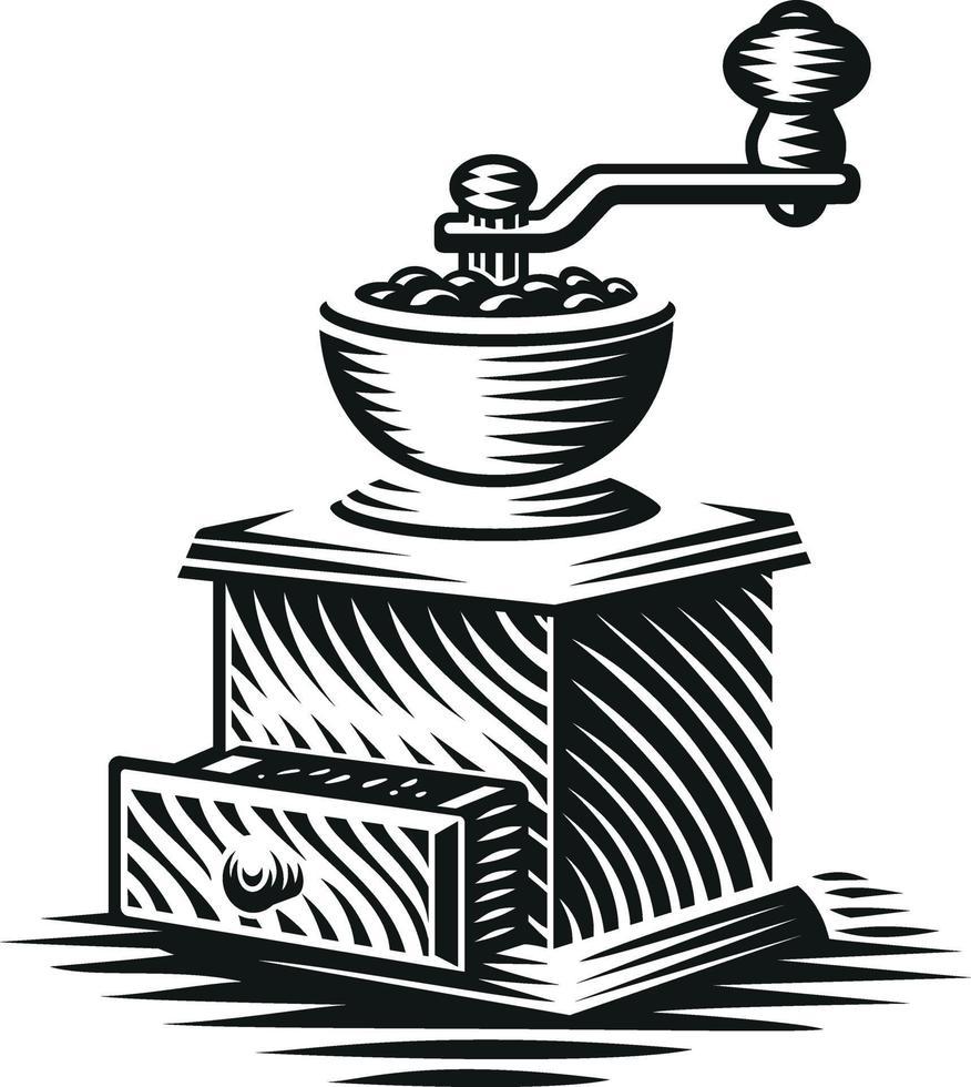 ilustração em vetor preto e branco de um moedor de café vintage em estilo de gravura