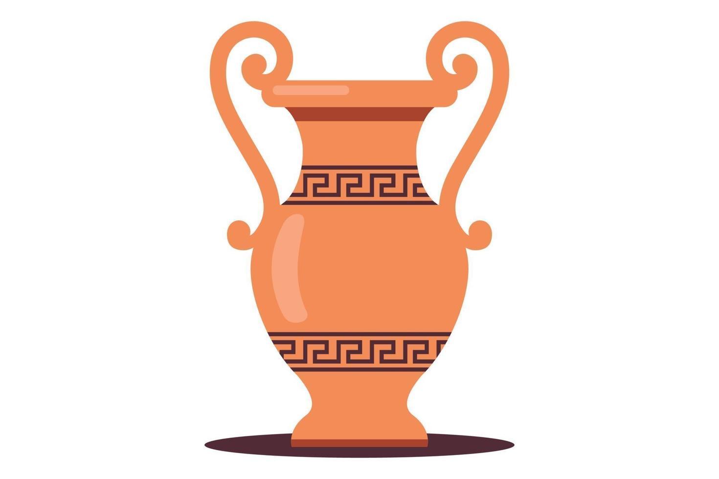 jarro de água de barro grego antigo. ilustração em vetor plana isolada no fundo branco.