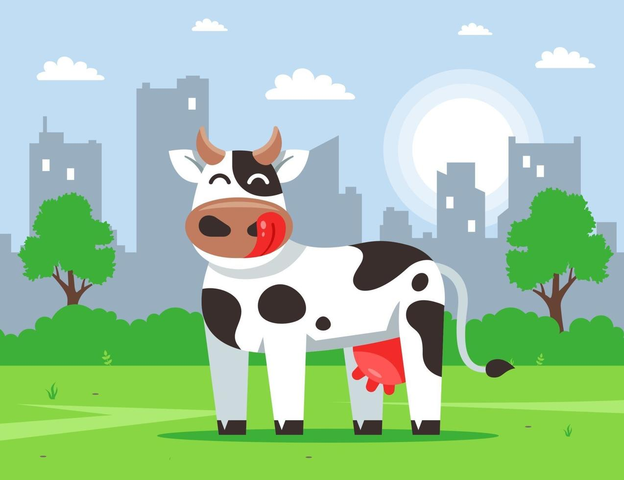 vaca bonita fica em um gramado verde contra o pano de fundo da cidade. ilustração de personagem plana vector. vetor