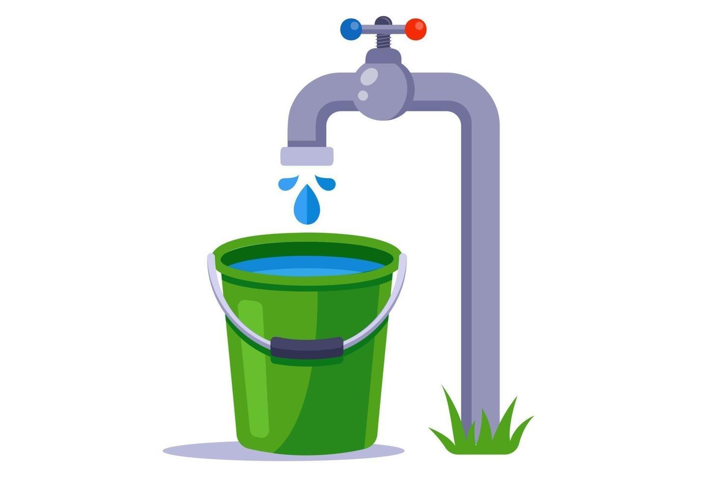 encher um balde verde com água. água limpa da torneira. ilustração vetorial plana. vetor