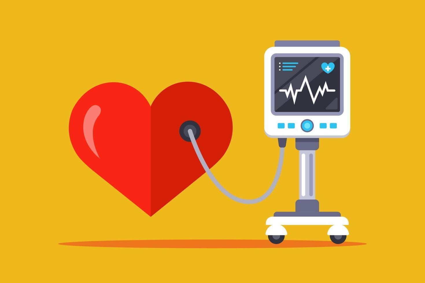 equipamento médico para medir a frequência cardíaca. ilustração vetorial plana vetor