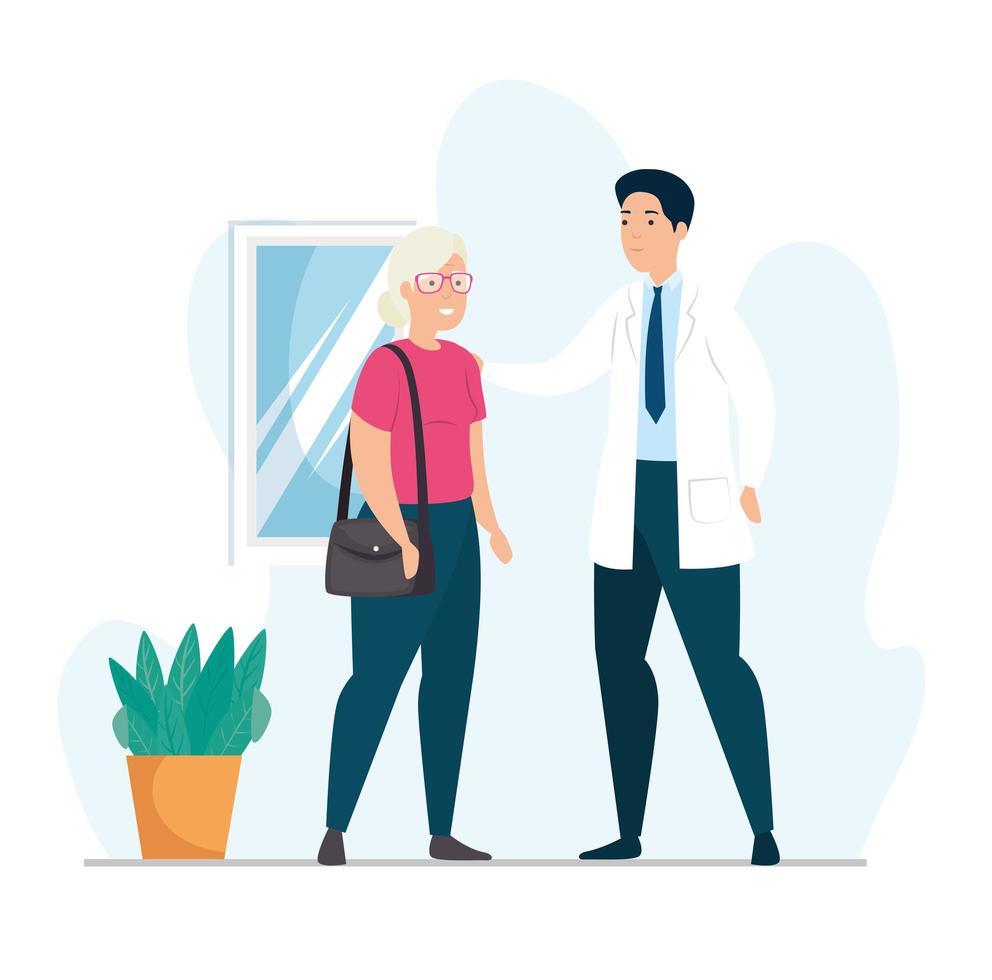 velha conversando com médico vetor