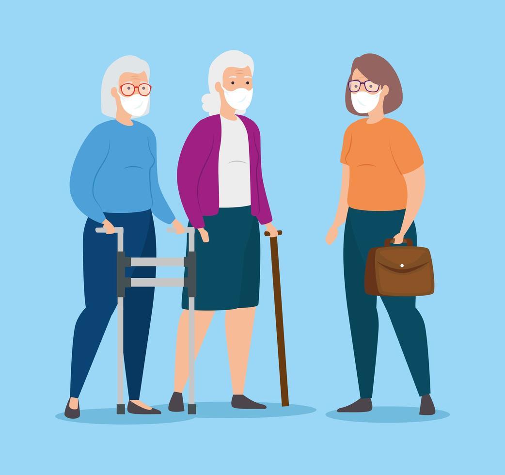 grupo de mulheres idosas com máscaras faciais vetor