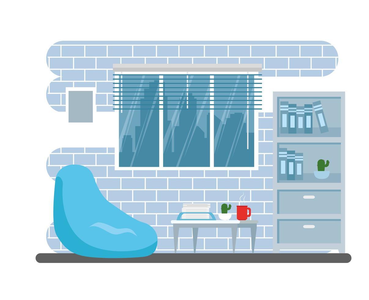 espaço de casa de sala de estar moderna vetor
