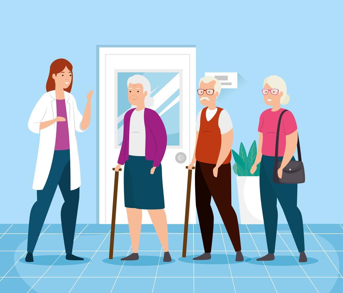 idosos conversando com um médico vetor