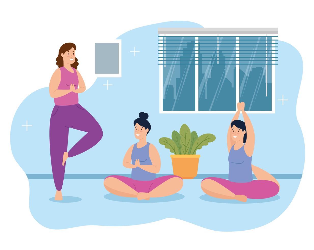 mulheres fazendo ioga em casa vetor