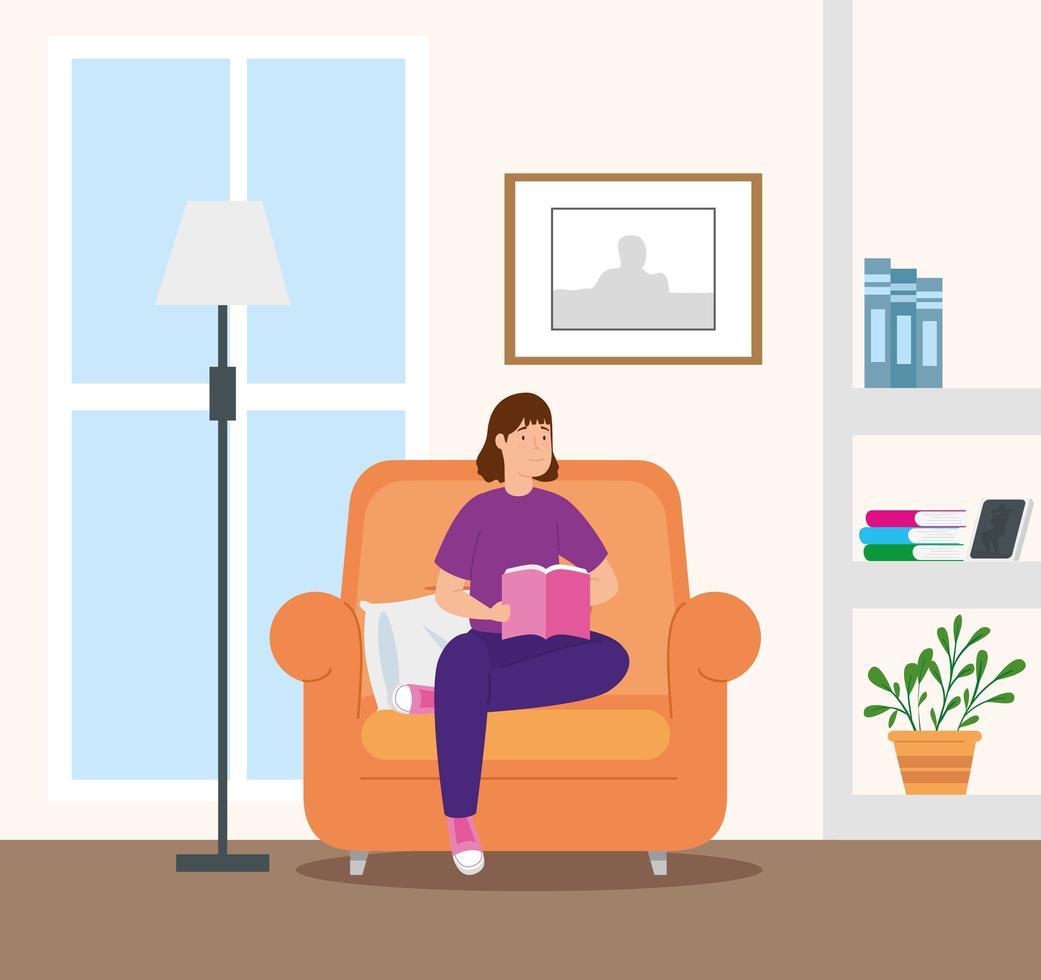 campanha fica em casa com mulher na sala lendo um livro vetor