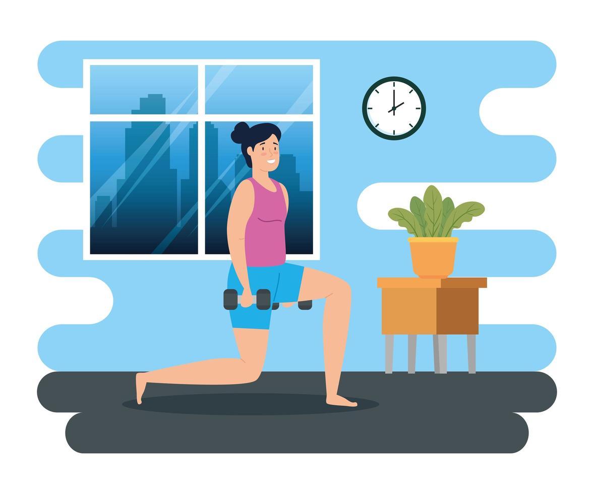 mulher se exercitando em casa vetor