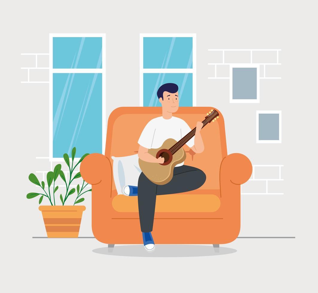 campanha fica em casa com o homem na sala tocando violão vetor