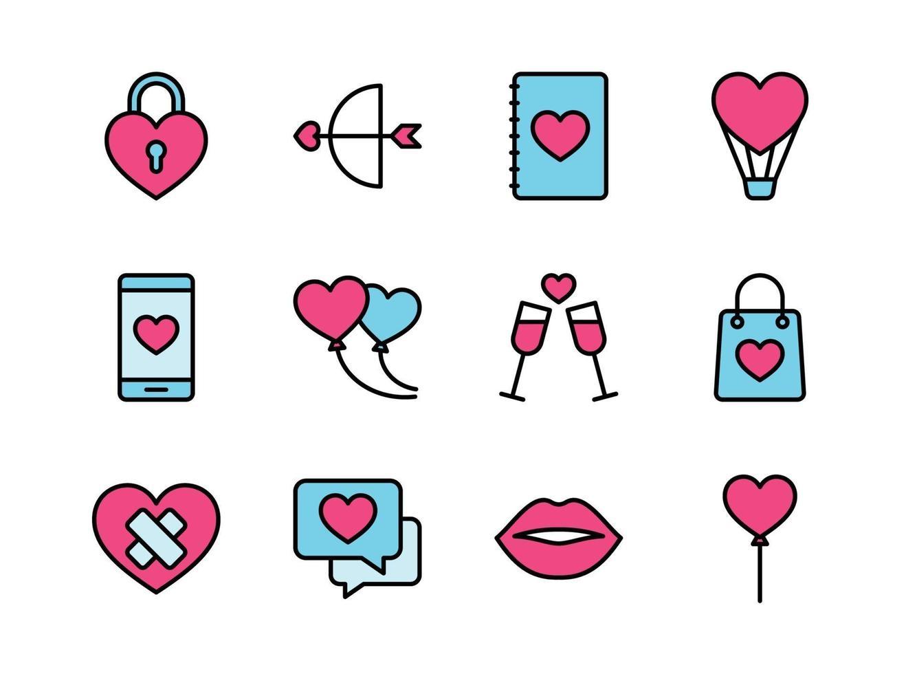 conjunto de ícones do dia dos namorados. feliz dia dos namorados com estilo colorline. vetor