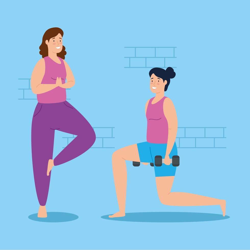 mulheres se exercitando em casa vetor