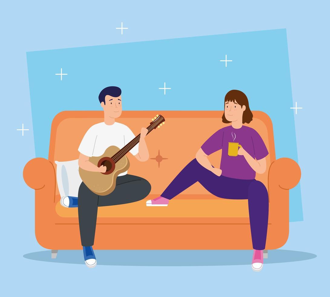 campanha fique em casa com casal na sala vetor