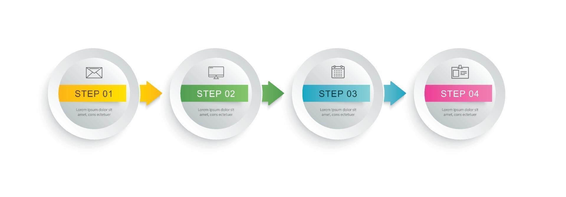 4 círculo infográfico de etapa com modelo de cronograma abstrato. apresentação passo negócios moderno fundo. vetor