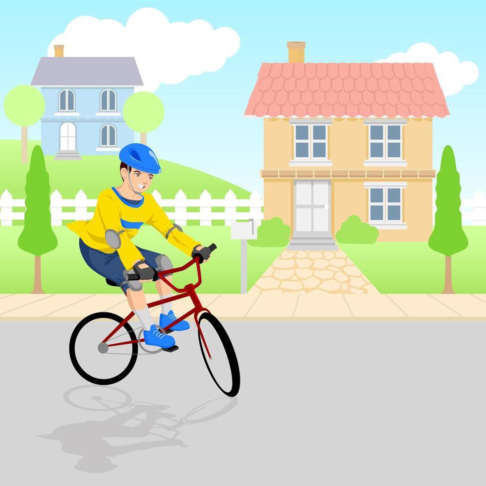 menino brincando de bicicleta pela vizinhança vetor