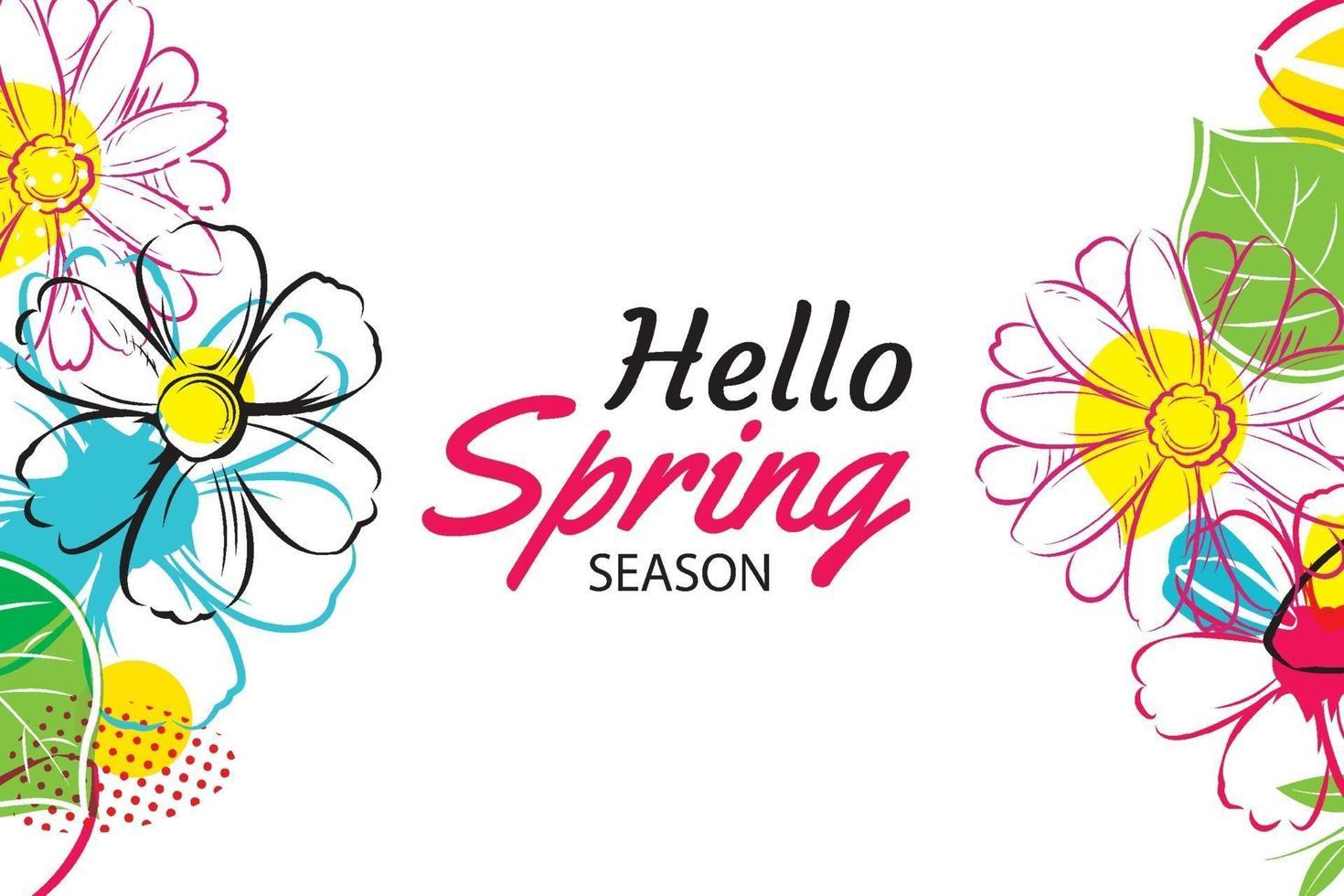 Olá modelo de banner de primavera com flores coloridas. pode ser usado para voucher, papel de parede, panfletos, convite, cartazes, brochura, desconto de cupom. vetor