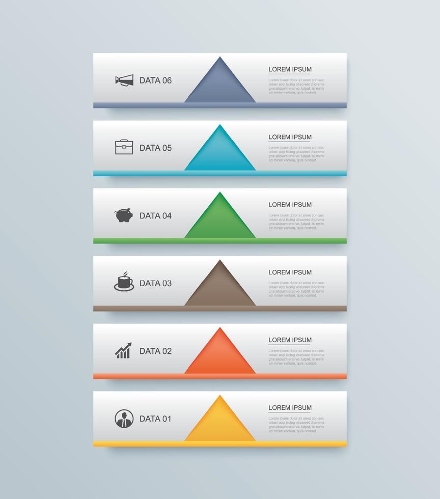 6 dados etapa cronograma infográficos guia modelo de índice de papel. ilustração vetorial fundo abstrato. pode ser usado para layout de fluxo de trabalho, banner, web design. vetor