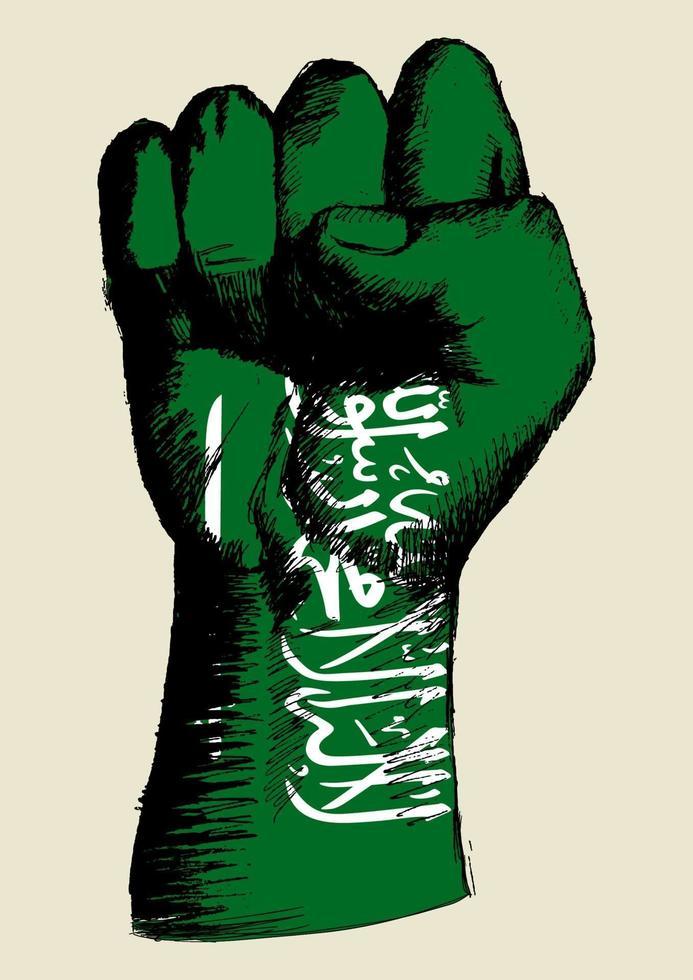 desenho ilustração de um punho com a insígnia da Arábia Saudita. espírito de uma nação vetor