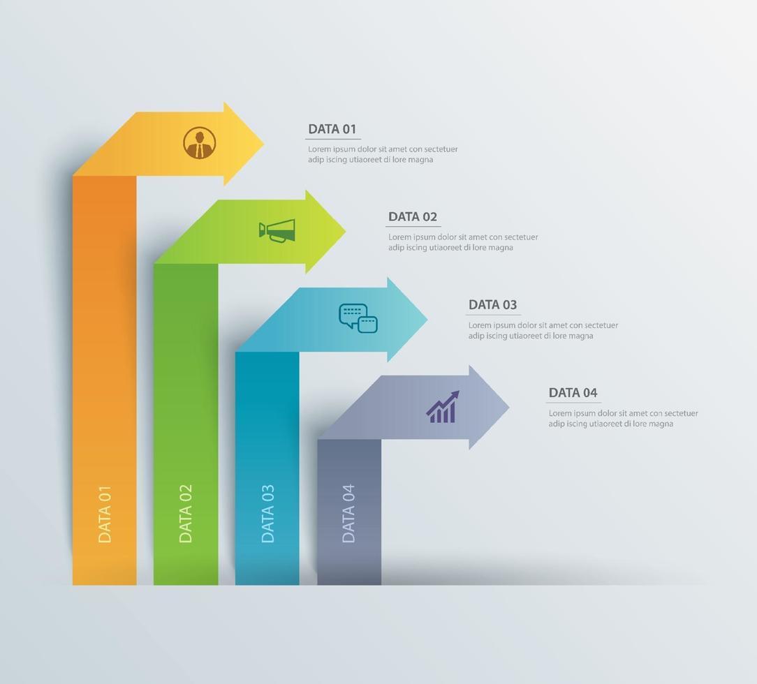 4 dados infográficos guia modelo de índice de papel. ilustração vetorial fundo abstrato. pode ser usado para layout de fluxo de trabalho, etapa de negócios, banner, design de web. vetor