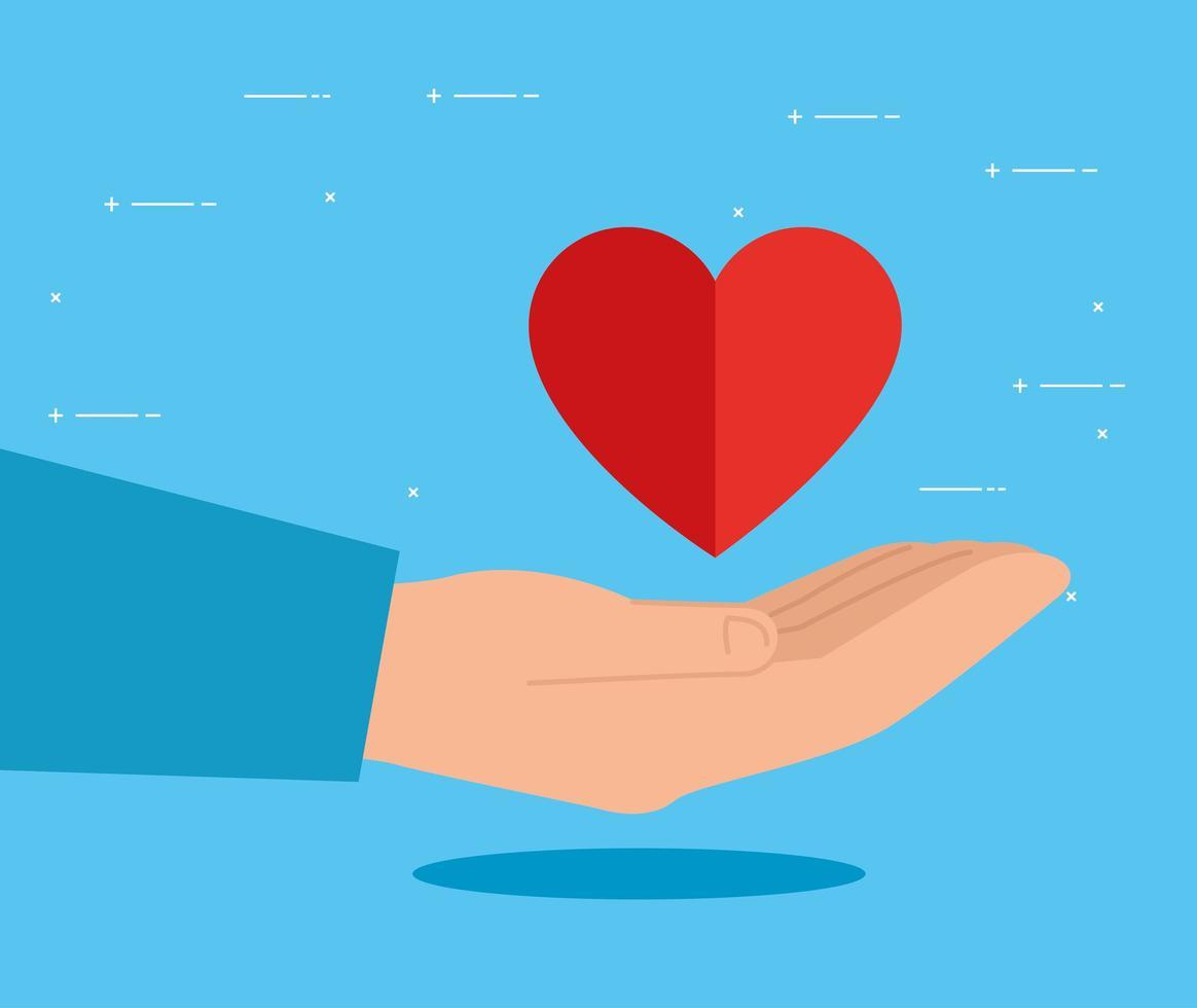mão com símbolo de coração para caridade e doação vetor