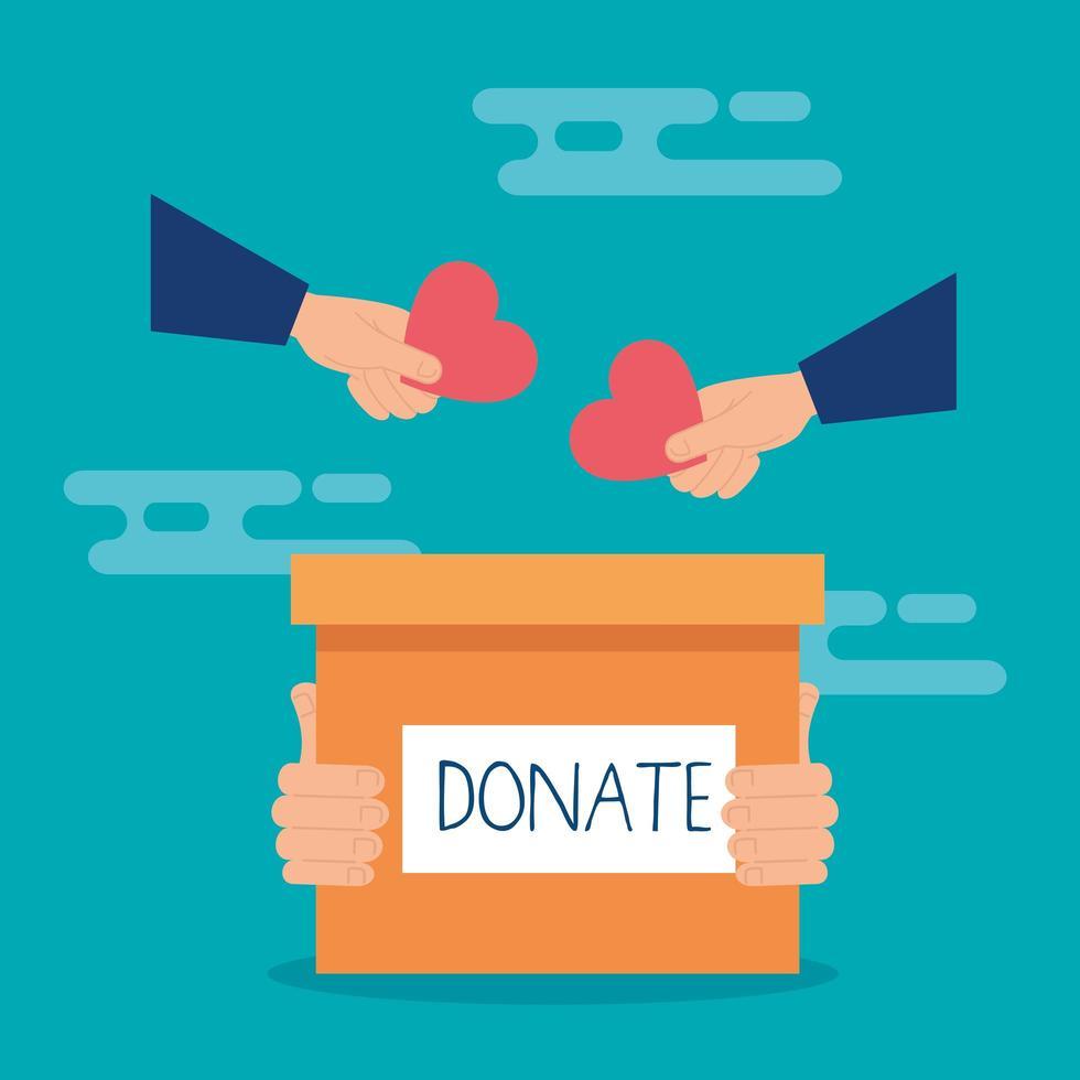 caixa de caridade e doação com mãos e corações vetor