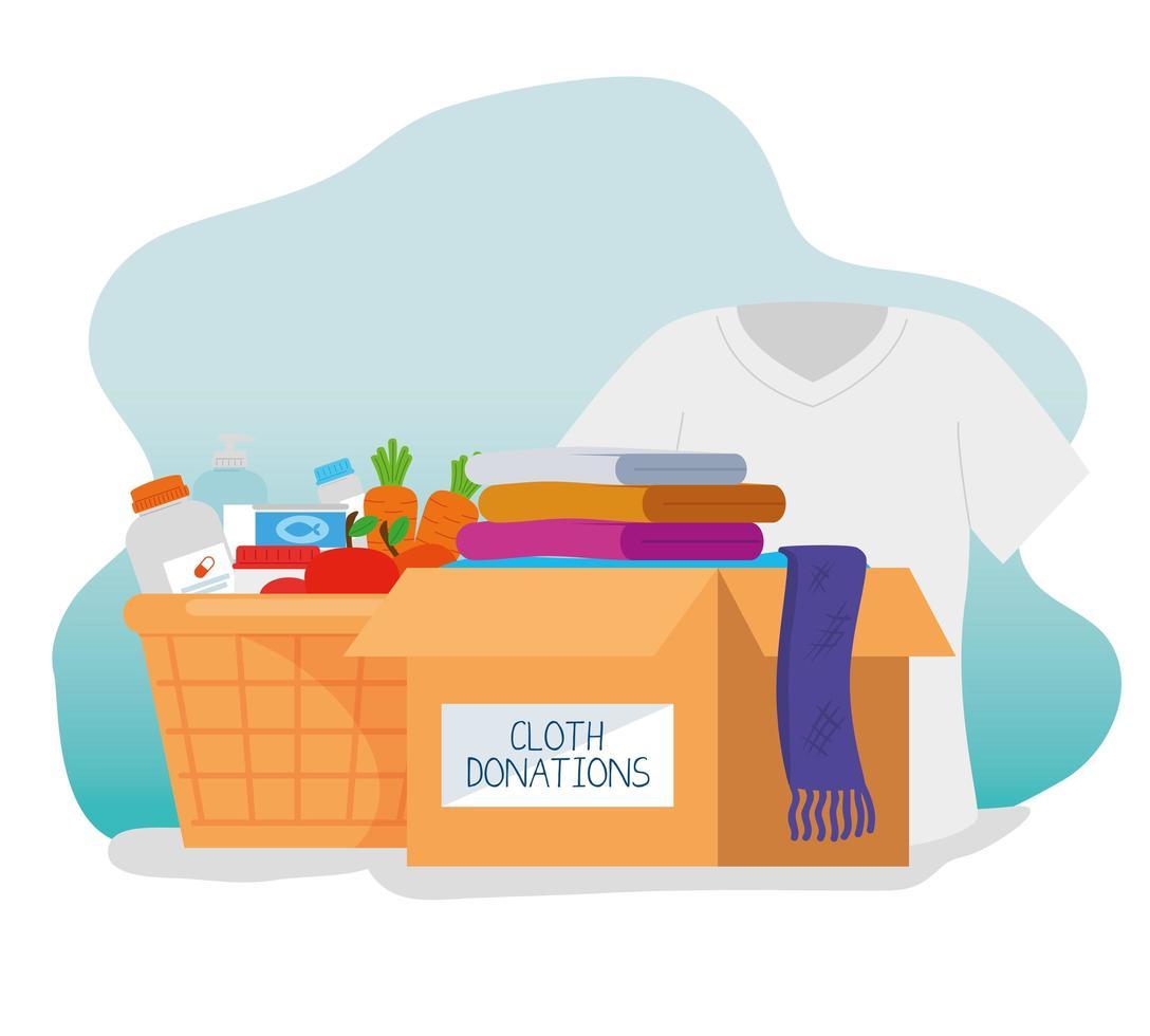 caixa com caridade e doação vetor