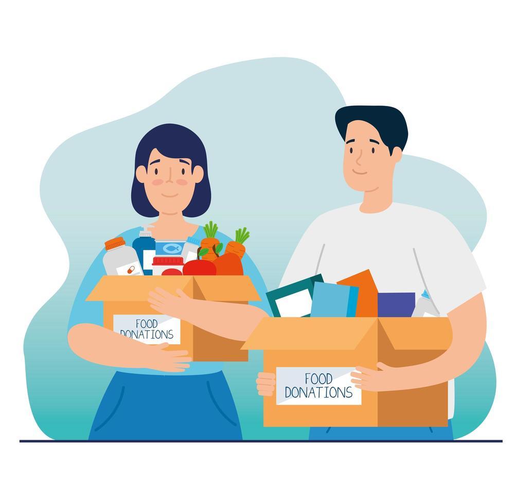 casal com caixa para caridade e doação vetor
