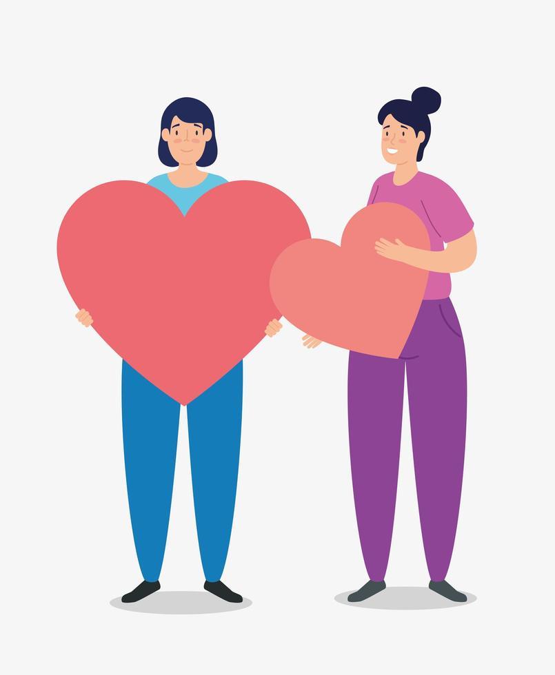 mulher com corações para caridade e conceito de doação vetor
