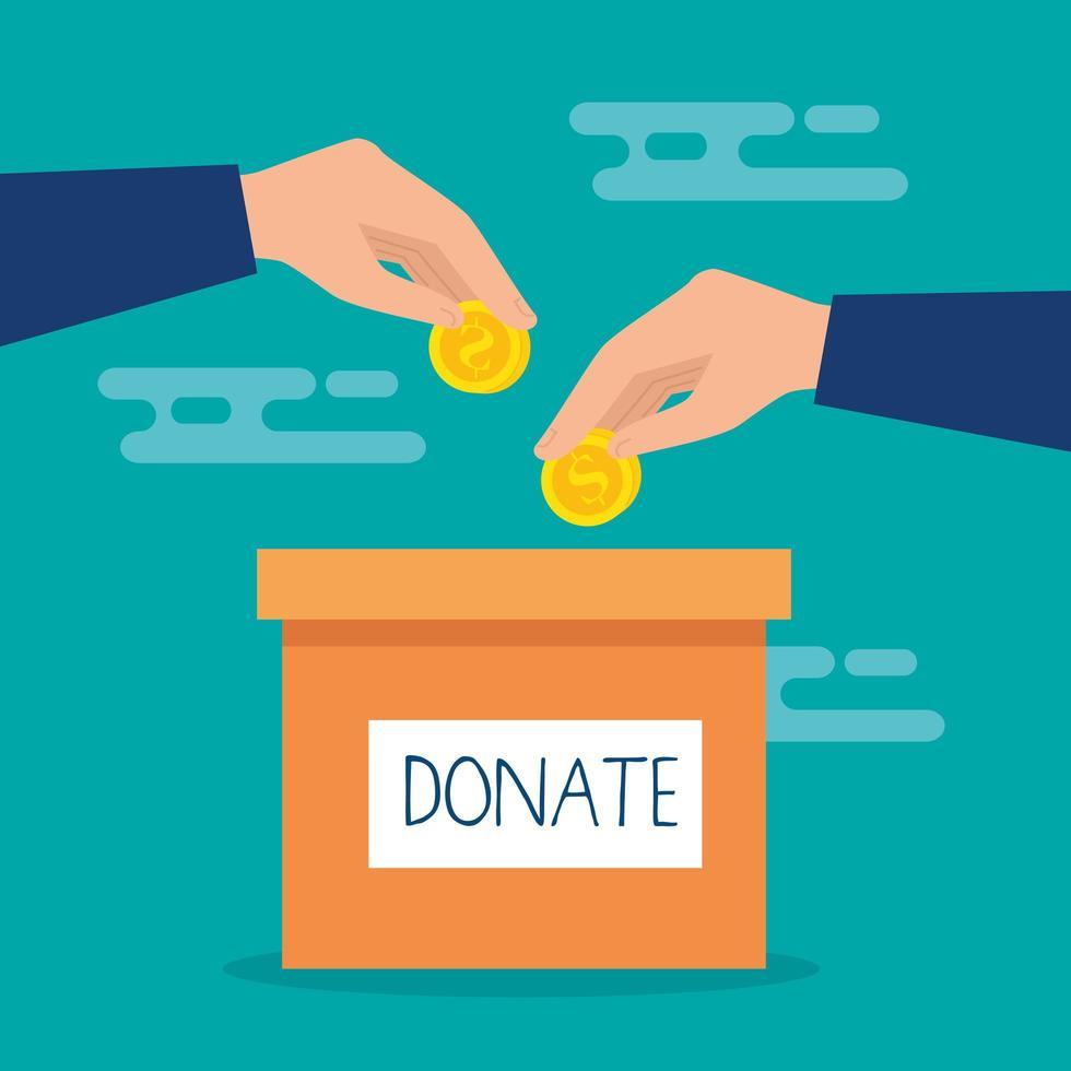 caixa de doação de caridade com mãos e moedas vetor