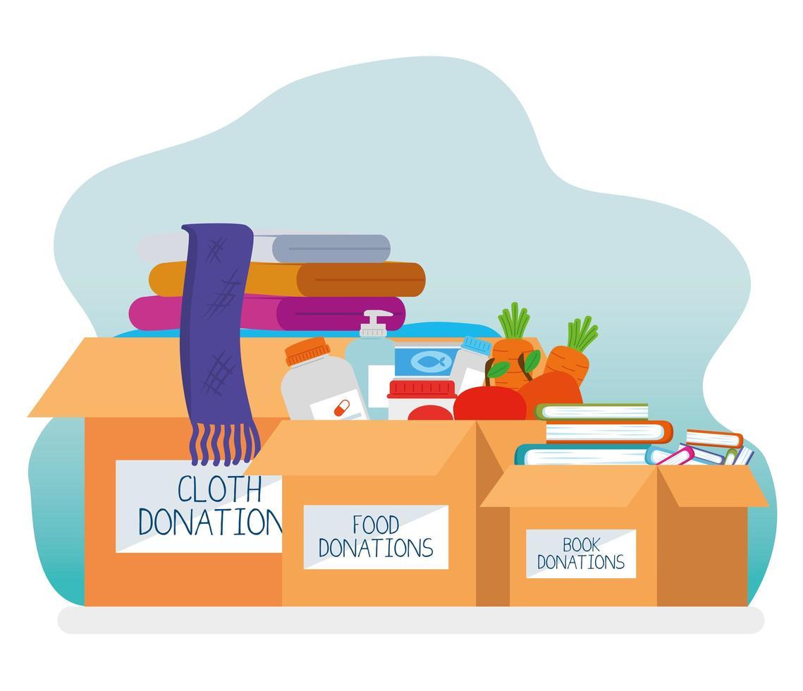 caixas de caridade e doações vetor