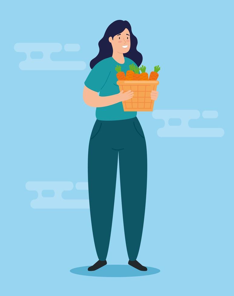 mulher com caixa para caridade e doação vetor