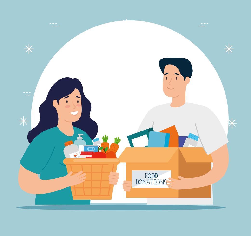 casal com caixas para caridade e doação vetor