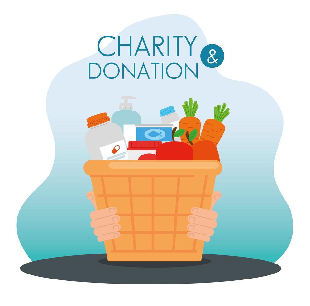 Caridade e cesta de doações com alimentos vetor