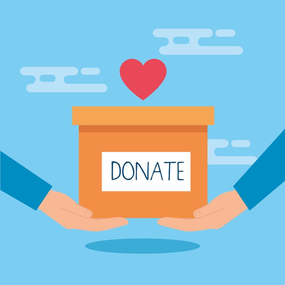 caixa de caridade e doação com mãos e coração vetor