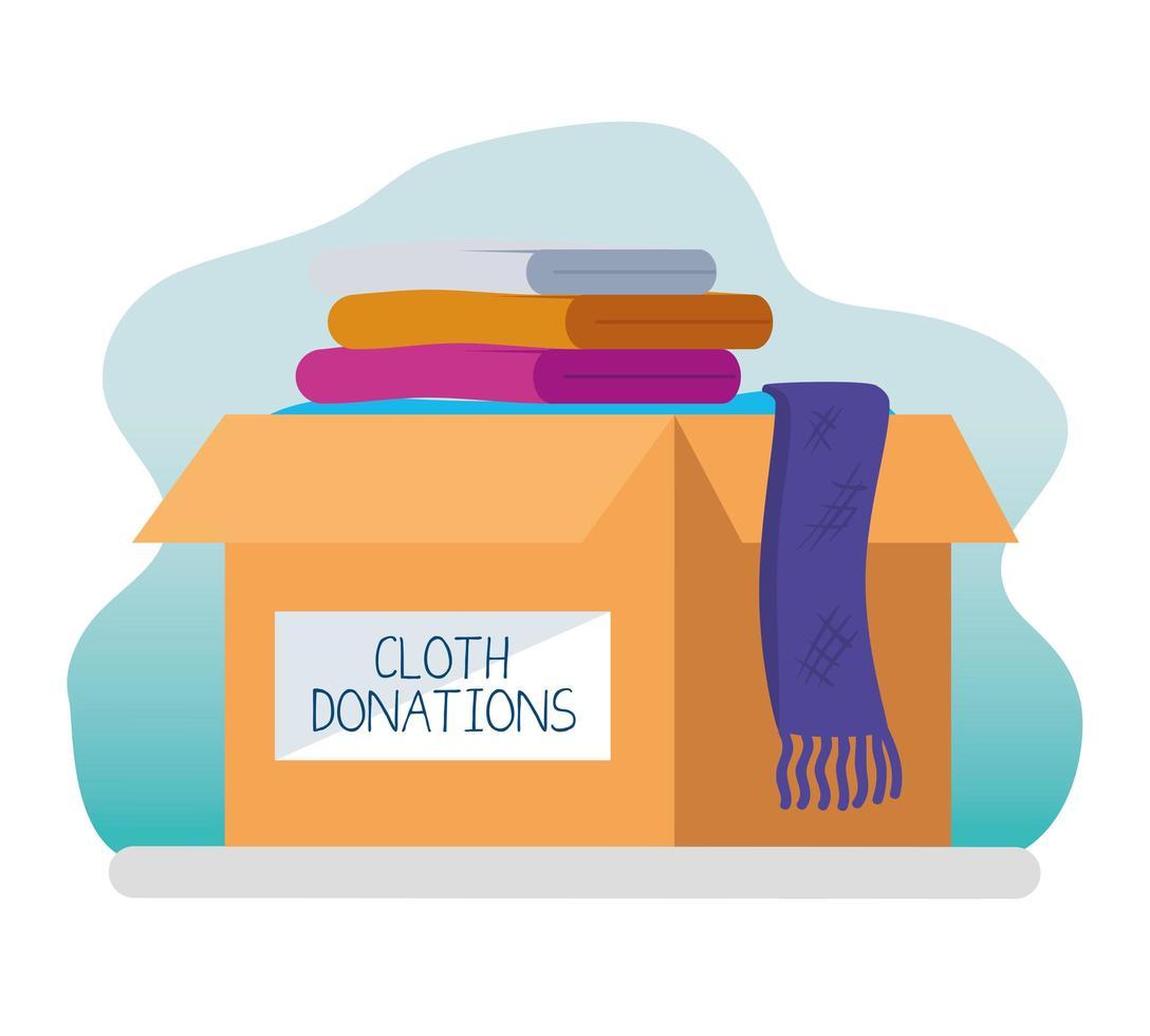caridade e doação com pilha de roupas vetor
