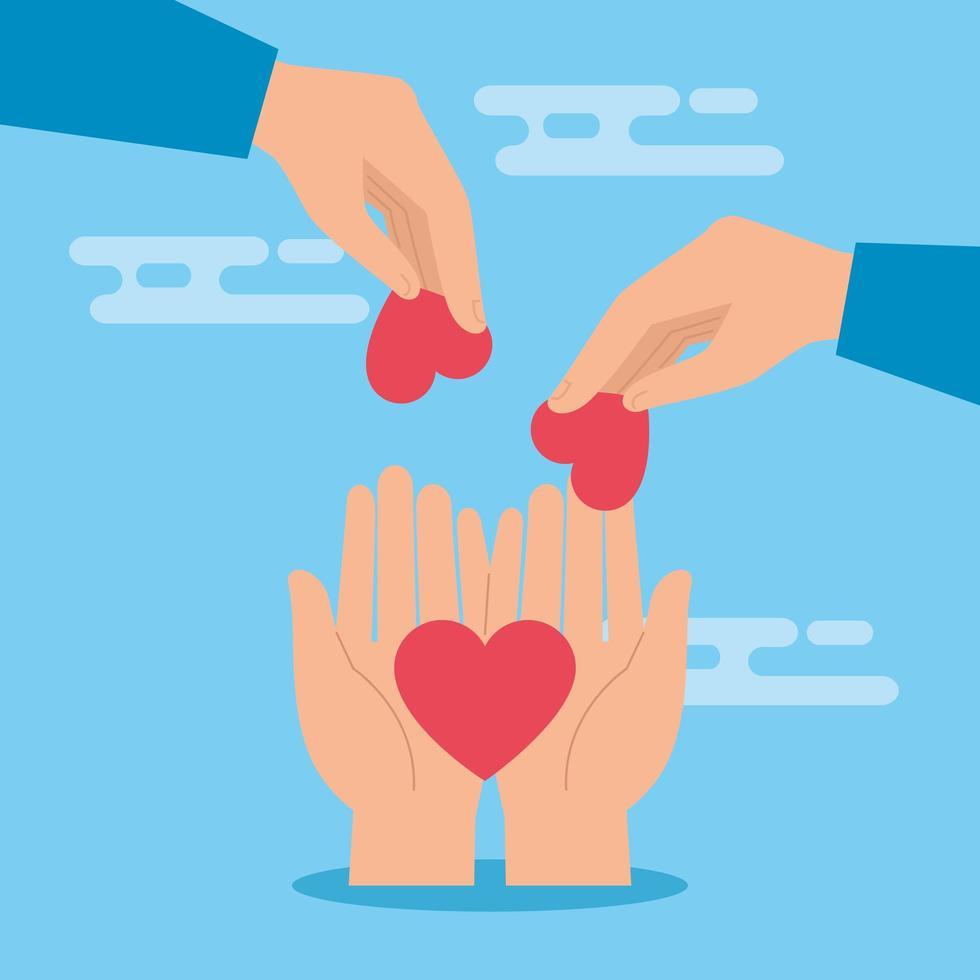 símbolo de mãos com coração para caridade e doação vetor