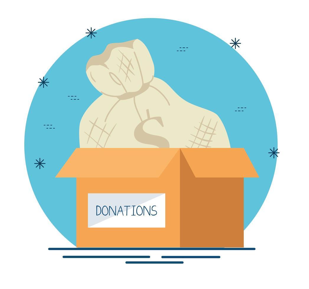 caixa de caridade e doação com saco de dinheiro vetor