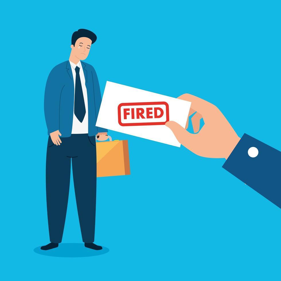 empresário triste e desempregado vetor