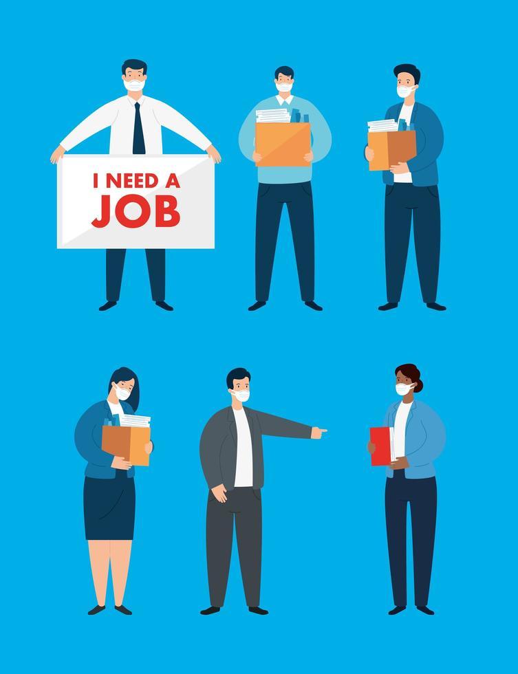 conjunto de empresários desempregados vetor