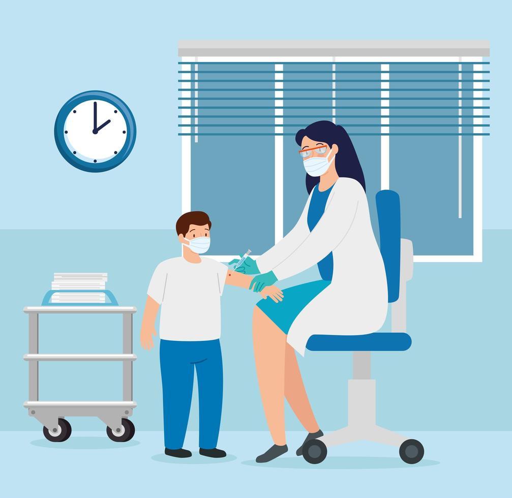 médico vacinando um menino no consultório vetor