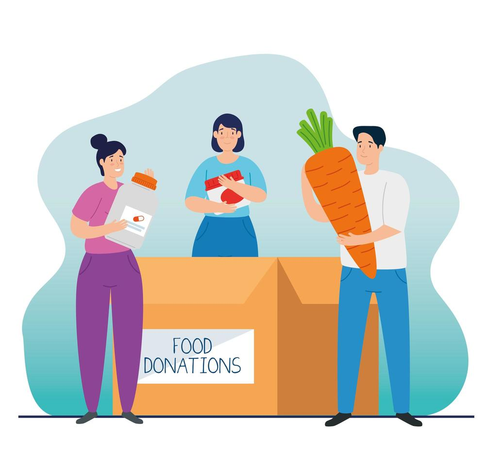 pessoas com caixa para caridade e doação vetor