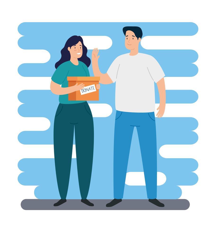 jovem casal com caixa para caridade e doação vetor